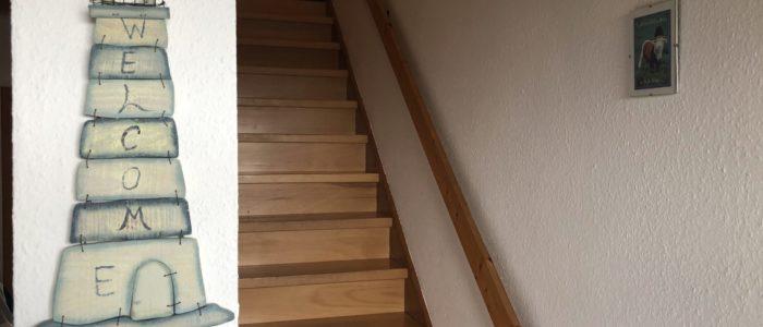 Ferienhaus Lippetal Treppe EG zu 1. OG